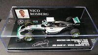 1:43 Minichamps Mercedes F1 W07 Rosberg F1 2016 Champion Abu Dhabi GP 417160706