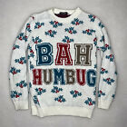 Remel London Bah Humbug White Ugly Christmas Sweater Size Med/Small