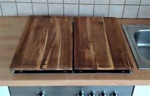2 x Herd-Abdeckplatte Holz Schneidebrett Abdeckung Platte Kochfeld Ceranfeld Set