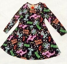 GIRLS STUNNING JINGLE BELLS CHRISTMAS PARTY SKATER DRESS BLACK NEON AGE 4 YEARS