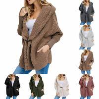 Women Winter Hooded Coat Jacket Cardigan Warm Fluffy Fleece Outwear Overcoat UK