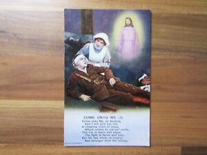 Old postcard - come unto me - Bamforth song card - Military WW1