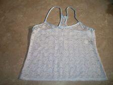 1202 In Bloom Jonquil White Sheer Bridal Lace Racerback Sleepwear Cami Top L