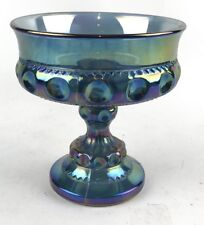 """Vtg Carnival Glass Indiana Iridescent Blue Candy Peanuts Etc Dish 5.25"""" Tall"""