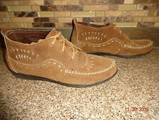 Womens Sz 6 MINNETONKA MOCCASINS Tan Leather Shoes Low Ankle Lace Boots