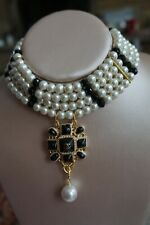 Choker White Faux  Pearls  Necklace With  Pendant Black and Gold