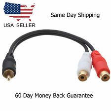 6 inch RCA Male to 2 RCA Female Gold Plated Audio Adapter Y Splitter Cable