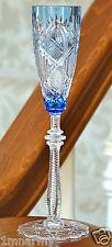 Faberge Czar Imperial Cordial Liqueur Glass, Light Blue Cased Crystal