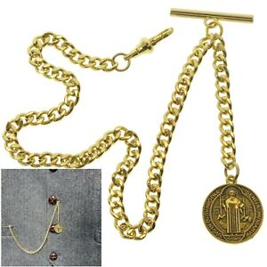 Albert Chain Gold Color Pocket Watch Chain St. Benedict Medal Fob Swivel Clasp