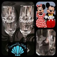 Personalised Disney Minnie Mickey Mouse Pair Of Champagne Flutes Wedding Glasses