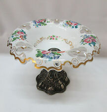 Compote Bohemian Czech Cased Crystal Floral Cut to Clear Silver Pedestal Antique