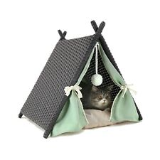 Cat House Tower Rattan Wicker Portable Furniture Tent Playpen with Soft Cushion