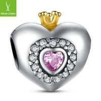 Authentic 925 Sterling Silver Princess Heart Pink CZ Charm With 14K Gold Jewelry