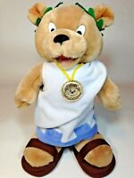 "Caesars Palace Toga Teddy Bear Plush Doll Sandals Olive Leaf Headband 12"""