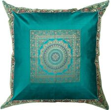 Ethnic Teal Green Cushion Cover Mandala Brocade Silk Pillow Throw Home Decor 24""