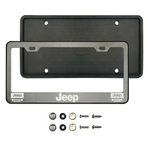 J33p Laser Etched Black Chrome Stainless Steel License Frame Silicone Guard