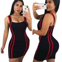 Women spaghetti strap stripes casual club party bodycon black mini dress