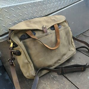 Filson Green Waxed Canvas and Leather Commuter Briefcase Messenger Bag Vintage?