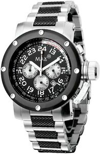 Max XL Men's Quartz Watch with Black Dial Analogue Display and Multicolour Stain