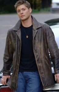 Mens Brown Rub Buff distressed Real Leather Jacket