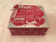Love Valentine Theme Pink Silver Heart Butterfly Bow Gift Storage Box