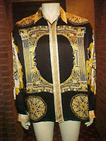 RARE VINTAGE MEN'S CREME SILK SILK SHIRT GREEK MULTI-COLOR PRINT LARGE GREAT