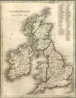 British Islands Ireland Scotland Wales Britain United Kingdom 1835 Bradford map