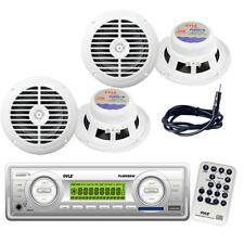"Pyle White In Dash Marine MP3 Radio Player+4 X 6.5"" Speaker Package With Antenna"
