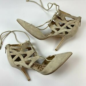Sam Edelman Zavier Gladiator Pumps Size 10 M Suede Pointy Toe Lace Up Cage Heels