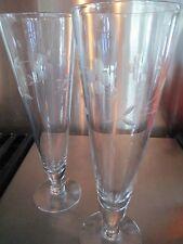 Set of  2 Crystal Flower Etched Pilsner Stemware Glasses