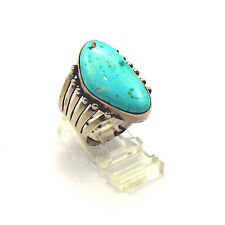 Carico Lake Turquoise Ring Size 10 by Lydia Begay