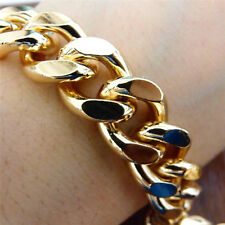 Steel Curb Chain Men's Fashion Bracelet New Heavy Yellow Gold 316L Stainless