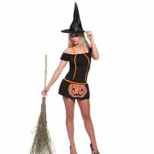 Ladies Gothic Vampire Witch Pumpkin Witch Halloween Costume Fancy Dress w/ Hat