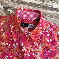 Saks Fifth Avenue Sport Shirt Womens Petite 4 Floral Button Front Cotton