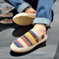 Hot Men Breathable Zapato Vintage Espadrilles Canvas Loafer Strip Casual Shoes