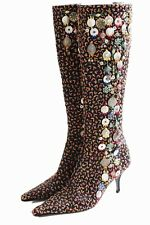 Oscar de la Renta Embellished Knee High Boots Black with Embroidery Sz 37 Italy