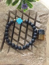Mens Lava  & aqua or white stone cross diffuser bracelet, Aromatherapy bracelet