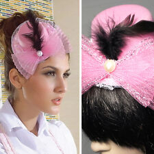 Lolita Victorian Derby Hat Tiny Fascinator Ruffled Mesh Trim Pink Black Feathers