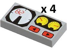 LEGO x4 Light Bluish Grey Tile 1x2 Red 82 Yellow White Gauges Technic Star Wars