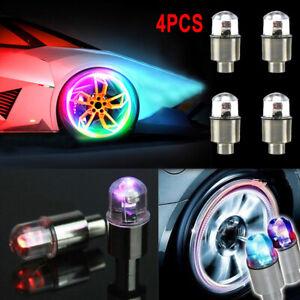 4pcs Car Wheel Tire Tyre Air Valve Stem Screw LED Light Cap Cover Accessories