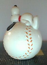 Vintage Peanuts Snoopy Baseball Bank Excellent Condtiion With Stopper