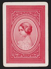 1 Single VINTAGE Playing/Swap Card OLD WIDE US MONO LADY HEAD PROFILE Red