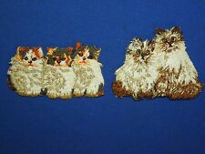 2 Small Embroidered Cats Kittens Himalayan Fluffy Iron On Patches-Duo & Trio #1A