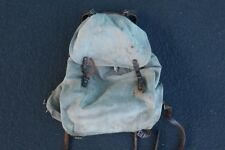Vintage Swiss Military Rucksack Backpack External Frame Leather Salt Pepper Army