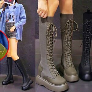 Military Creepers Women Cotton Blend Knee High Boots Platform Wedge Oxfords Punk
