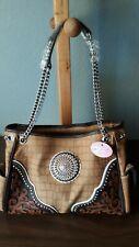New Blazin Roxx Brown & Tan Large Purse Handbag with Rhinestones & Studs