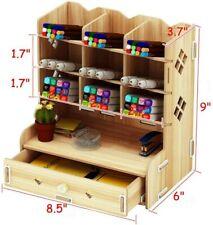 Wooden Desk Organizer w/ Drawers - Office Supplies Desktop Tabletop Rack Holder