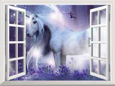 Unicorn 3D Window Wall Sticker Fairytale Fantasy Wall Decal Girls Bedroom Decor