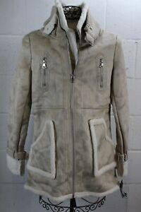 STEVE MADDEN Stone Beige Faux Suede Leather Sherpa Shearling 3/4 Coat Jacket NWT