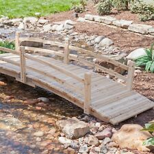 12-Ft Wooden Garden Bridge with Rails in Unfinished Fir Wood